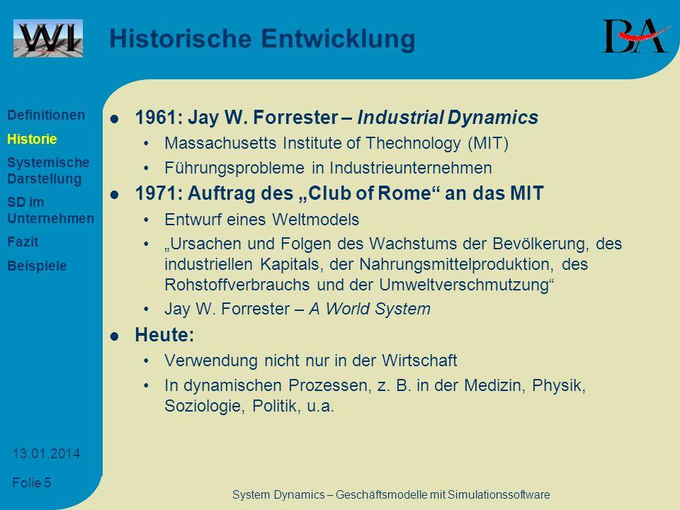 Folie 5 13.01.2014 System Dynamics – Geschäftsmodelle mit Simulationssoftware Historische Entwicklung 1961: Jay W. Forrester – Industrial Dynamics Mas