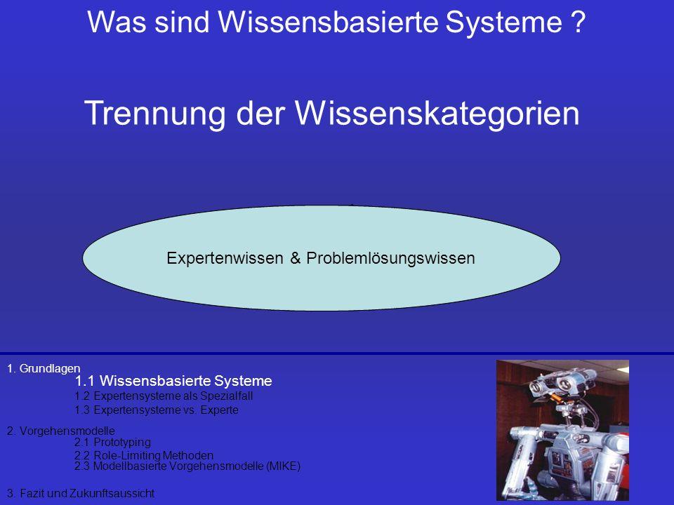Agenda 1. Grundlagen 1.1 Wissensbasierte Systeme 1.2 Expertensysteme als Spezialfall 1.3 Expertensysteme vs. Experte 2. Vorgehensmodelle 2.1 Prototypi