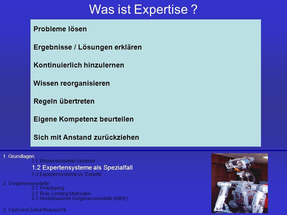 1. Grundlagen 1.1 Wissensbasierte Systeme 1.2 Expertensysteme als Spezialfall 1.3 Expertensysteme vs. Experte 2. Vorgehensmodelle 2.1 Prototyping 2.2