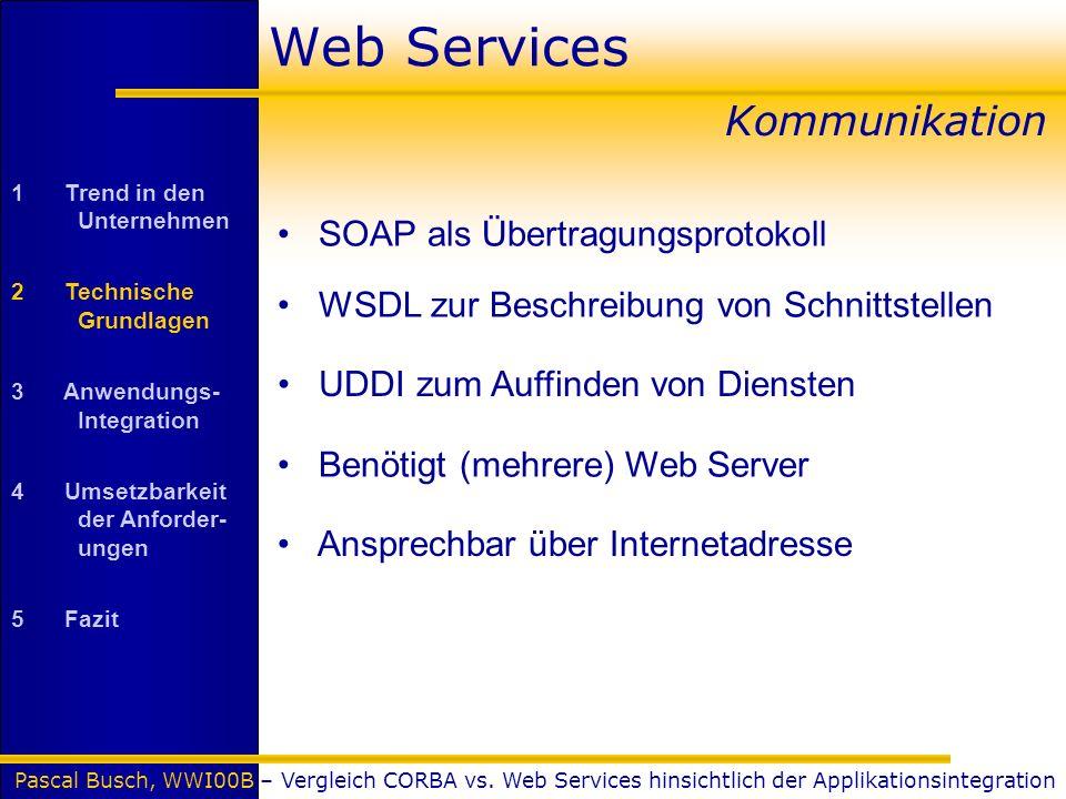 Pascal Busch, WWI00B – Vergleich CORBA vs. Web Services hinsichtlich der Applikationsintegration Web Services Kommunikation SOAP als Übertragungsproto