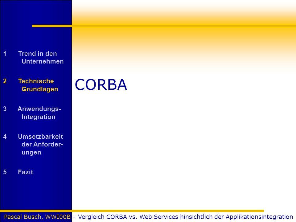 Pascal Busch, WWI00B – Vergleich CORBA vs. Web Services hinsichtlich der Applikationsintegration CORBA 1 Trend in den Unternehmen 2 Technische Grundla