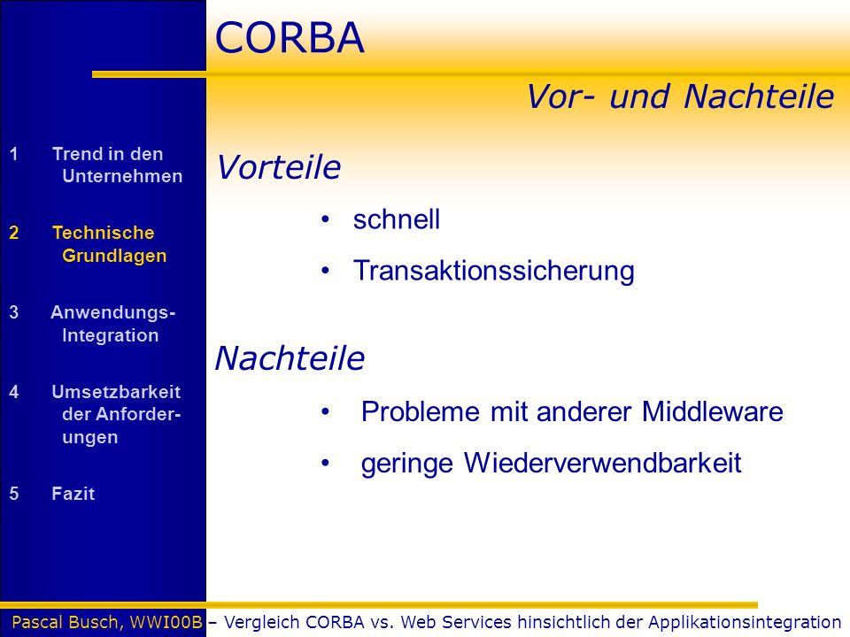 Pascal Busch, WWI00B – Vergleich CORBA vs. Web Services hinsichtlich der Applikationsintegration CORBA Vor- und Nachteile 1 Trend in den Unternehmen 2