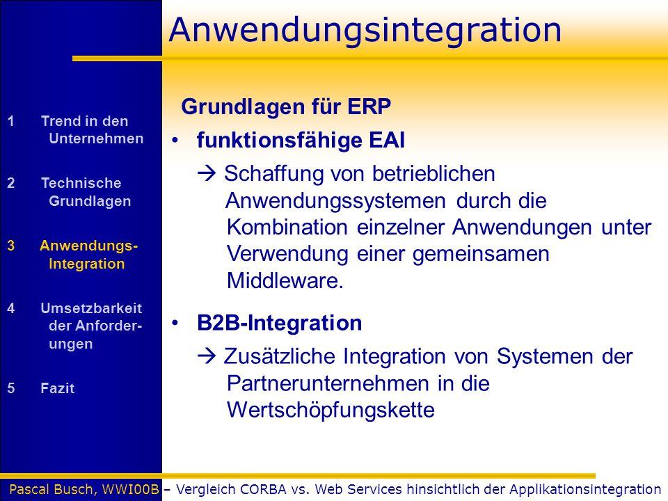 Pascal Busch, WWI00B – Vergleich CORBA vs. Web Services hinsichtlich der Applikationsintegration Anwendungsintegration funktionsfähige EAI Schaffung v