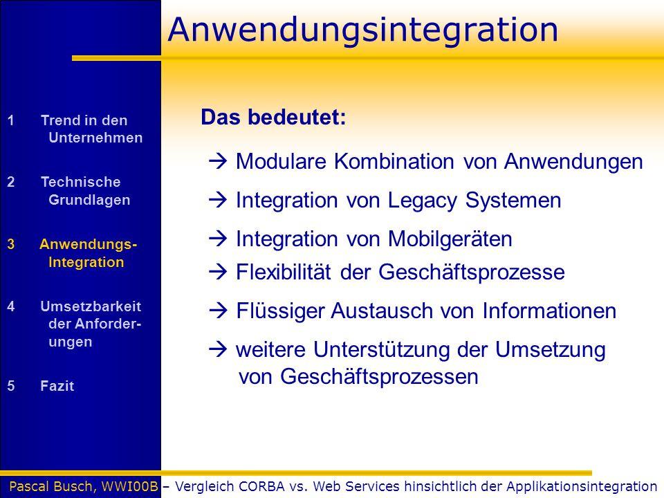 Pascal Busch, WWI00B – Vergleich CORBA vs. Web Services hinsichtlich der Applikationsintegration Anwendungsintegration Flexibilität der Geschäftsproze