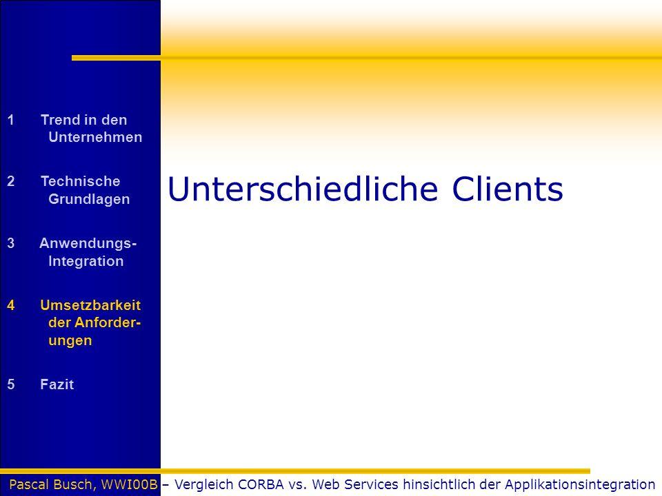 Pascal Busch, WWI00B – Vergleich CORBA vs. Web Services hinsichtlich der Applikationsintegration Unterschiedliche Clients 1 Trend in den Unternehmen 2