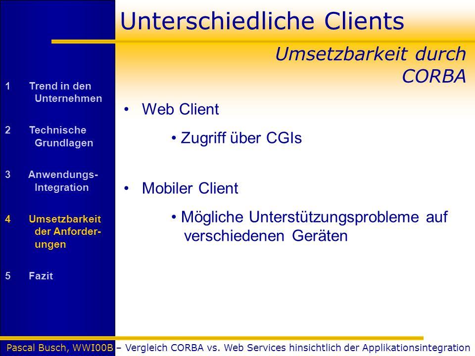 Pascal Busch, WWI00B – Vergleich CORBA vs. Web Services hinsichtlich der Applikationsintegration Unterschiedliche Clients Web Client Zugriff über CGIs