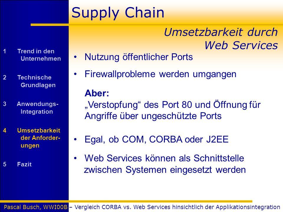 Pascal Busch, WWI00B – Vergleich CORBA vs. Web Services hinsichtlich der Applikationsintegration Supply Chain Umsetzbarkeit durch Web Services Nutzung