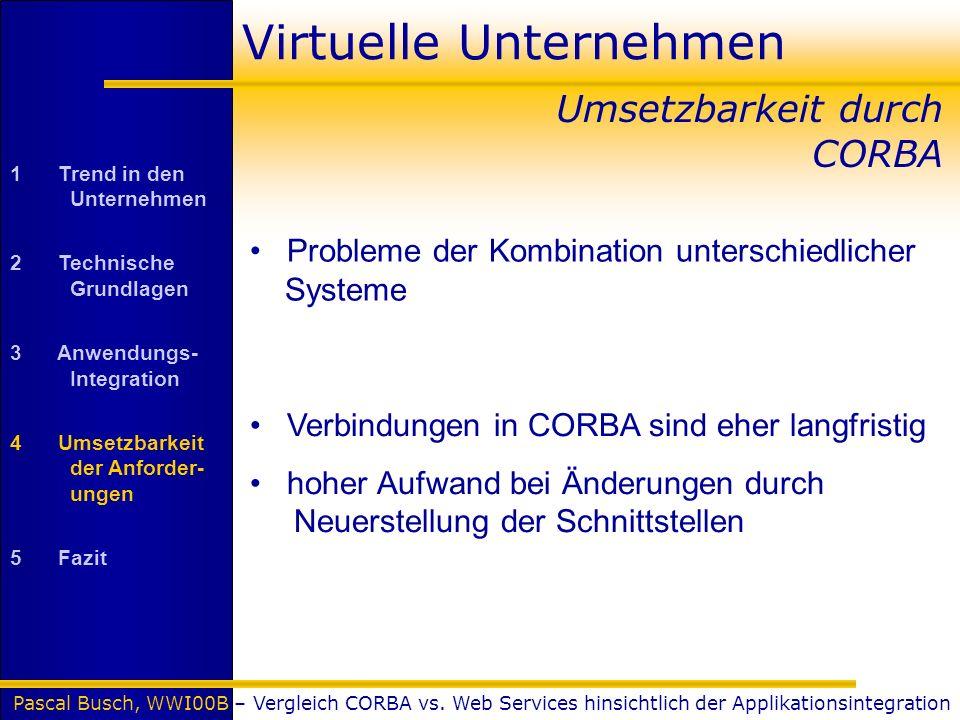 Pascal Busch, WWI00B – Vergleich CORBA vs. Web Services hinsichtlich der Applikationsintegration Virtuelle Unternehmen Probleme der Kombination unters