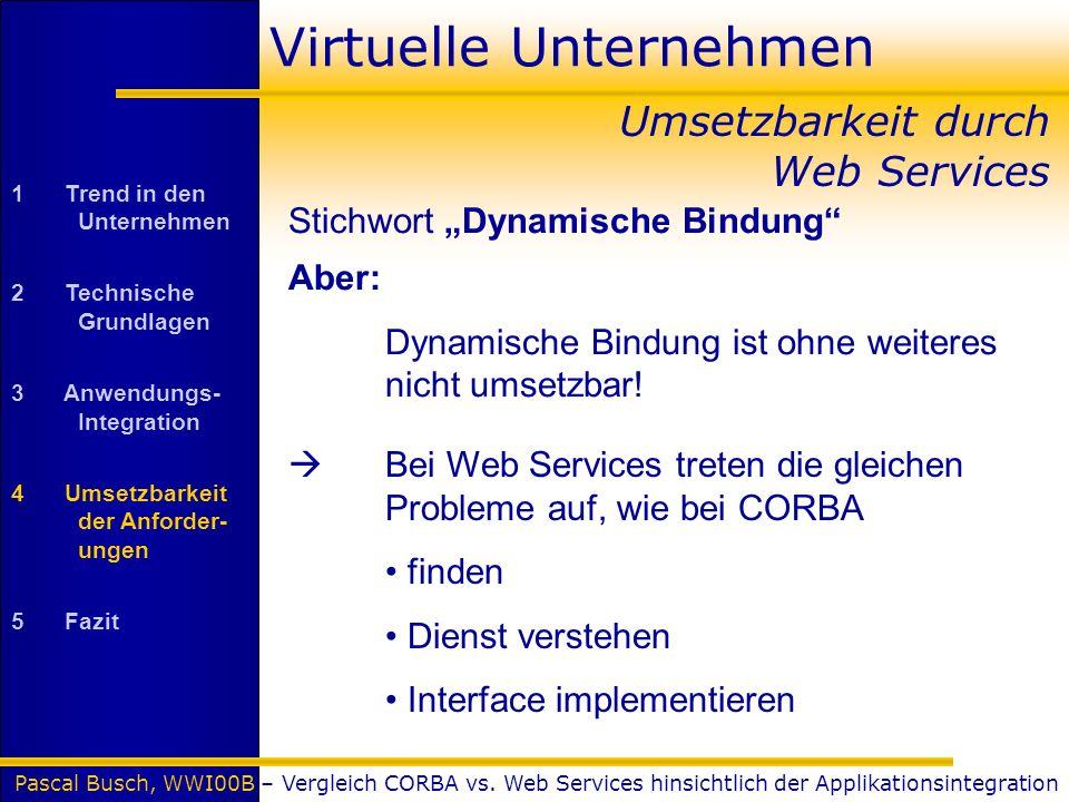 Pascal Busch, WWI00B – Vergleich CORBA vs. Web Services hinsichtlich der Applikationsintegration Virtuelle Unternehmen Stichwort Dynamische Bindung Um