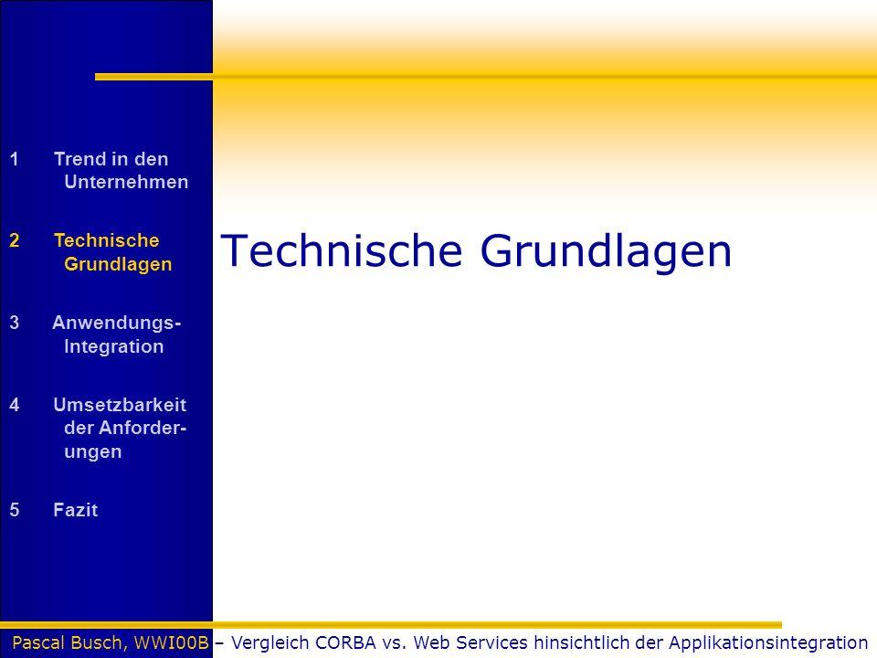 Pascal Busch, WWI00B – Vergleich CORBA vs. Web Services hinsichtlich der Applikationsintegration Technische Grundlagen 1 Trend in den Unternehmen 2 Te