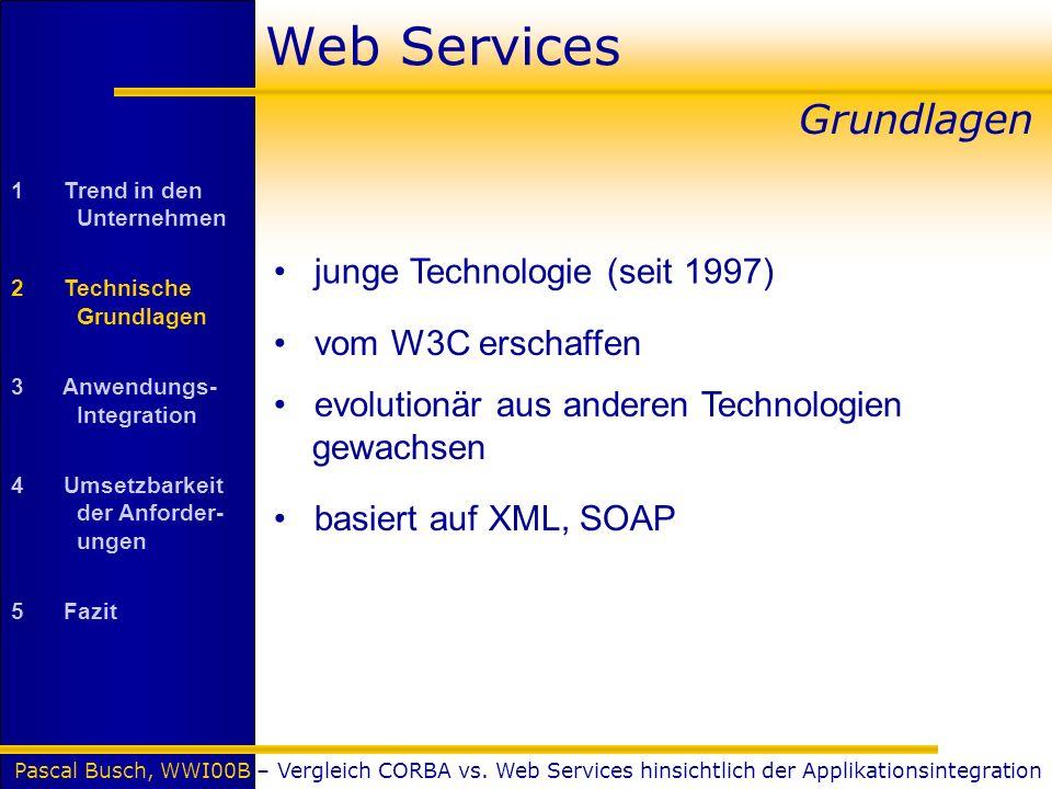 Pascal Busch, WWI00B – Vergleich CORBA vs. Web Services hinsichtlich der Applikationsintegration Web Services junge Technologie (seit 1997) Grundlagen