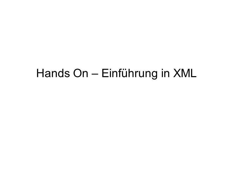 Gliederung Hands On – Einführung in XML 1.XML 2.DTD 3.Well-formed Document 4.XSL/XSLT 5.Learning XML in 11.5 Minutes wichtig Alle Informationen mit diesem Symbol sind Kerninhalte.