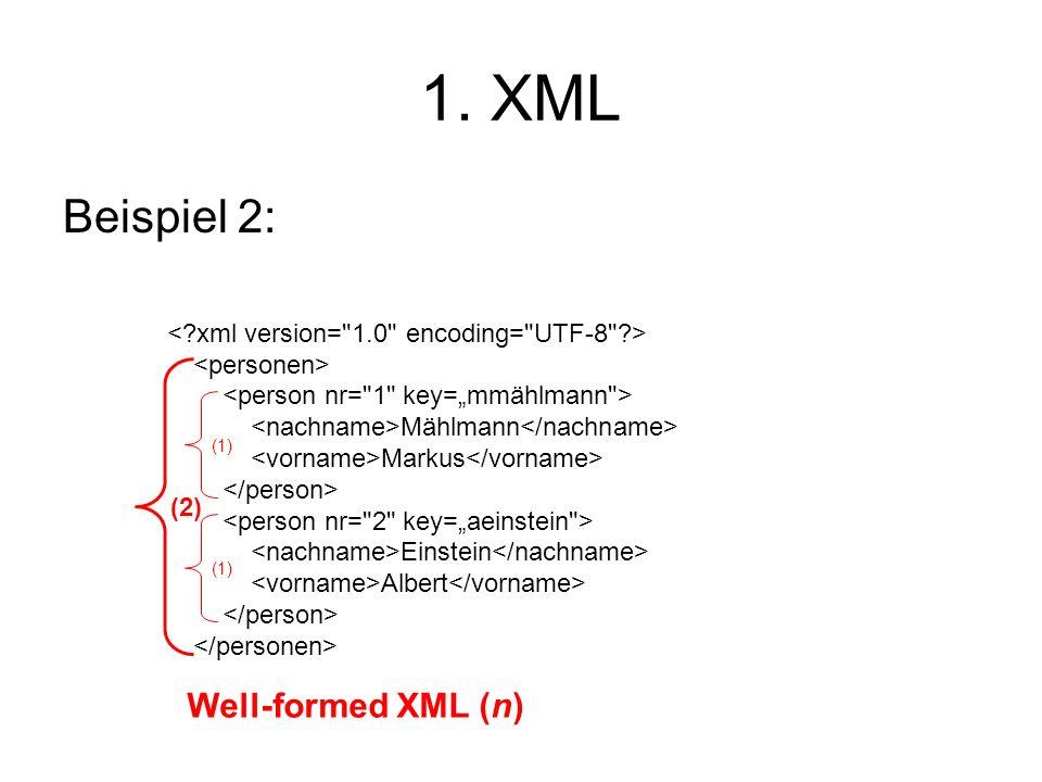 1. XML Beispiel 2: Mählmann Markus Einstein Albert (2) (1) Well-formed XML (n)