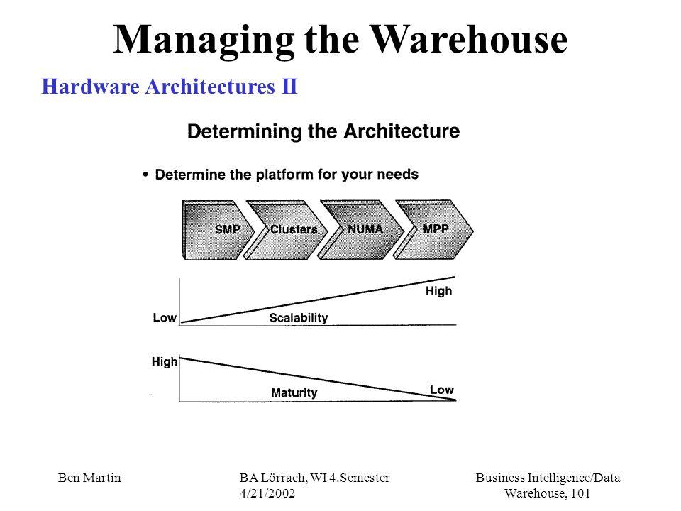 Business Intelligence/Data Warehouse, 101 Ben MartinBA Lörrach, WI 4.Semester 4/21/2002 Managing the Warehouse Hardware Architectures II