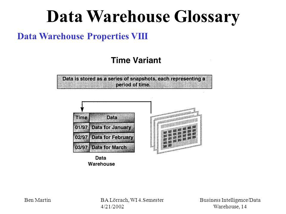Business Intelligence/Data Warehouse, 14 Ben MartinBA Lörrach, WI 4.Semester 4/21/2002 Data Warehouse Glossary Data Warehouse Properties VIII