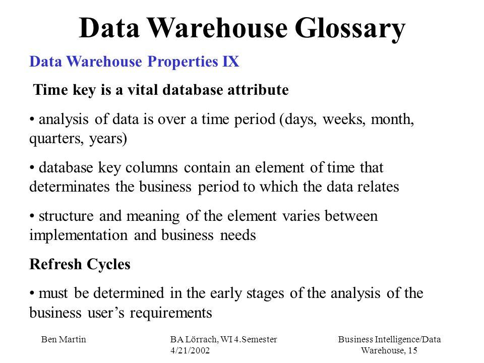 Business Intelligence/Data Warehouse, 15 Ben MartinBA Lörrach, WI 4.Semester 4/21/2002 Data Warehouse Glossary Data Warehouse Properties IX Time key i