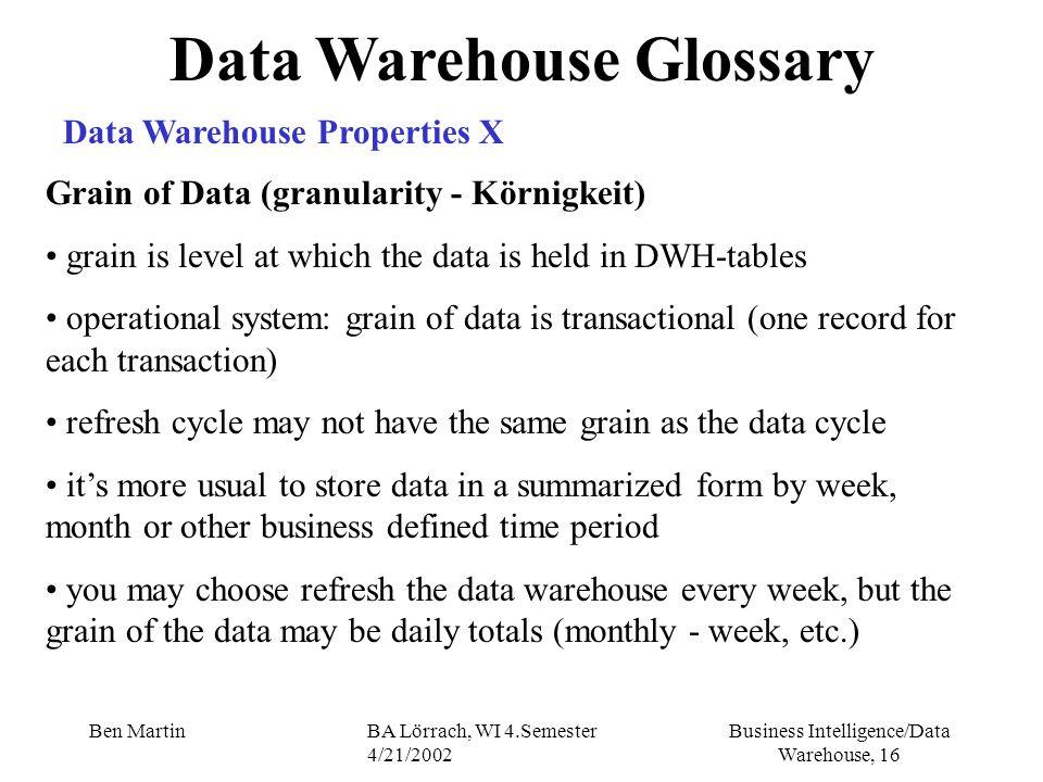 Business Intelligence/Data Warehouse, 16 Ben MartinBA Lörrach, WI 4.Semester 4/21/2002 Data Warehouse Glossary Data Warehouse Properties X Grain of Da