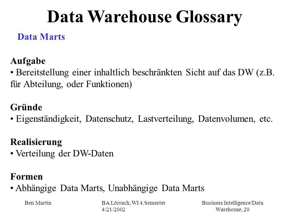 Business Intelligence/Data Warehouse, 20 Ben MartinBA Lörrach, WI 4.Semester 4/21/2002 Aufgabe Bereitstellung einer inhaltlich beschränkten Sicht auf