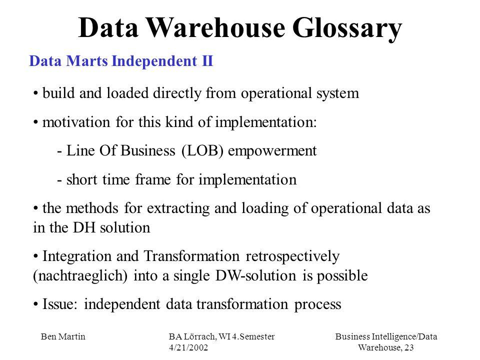 Business Intelligence/Data Warehouse, 23 Ben MartinBA Lörrach, WI 4.Semester 4/21/2002 Data Warehouse Glossary Data Marts Independent II build and loa