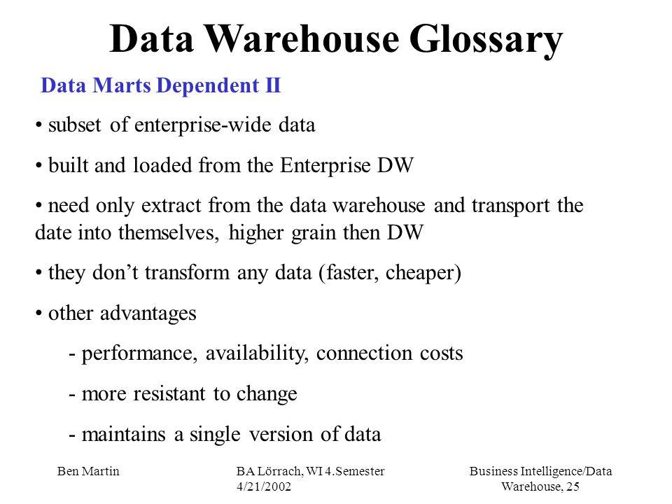 Business Intelligence/Data Warehouse, 25 Ben MartinBA Lörrach, WI 4.Semester 4/21/2002 Data Warehouse Glossary Data Marts Dependent II subset of enter