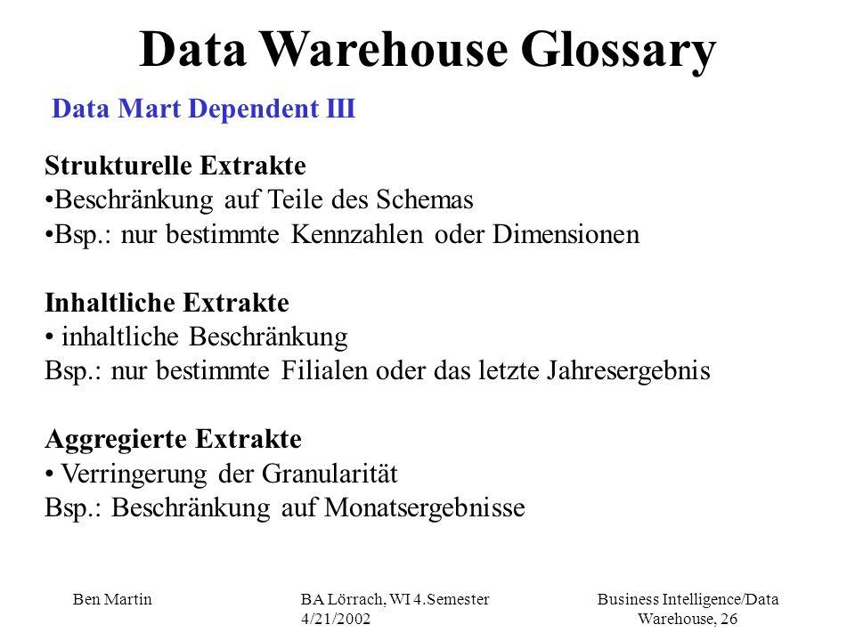 Business Intelligence/Data Warehouse, 26 Ben MartinBA Lörrach, WI 4.Semester 4/21/2002 Data Warehouse Glossary Data Mart Dependent III Strukturelle Ex