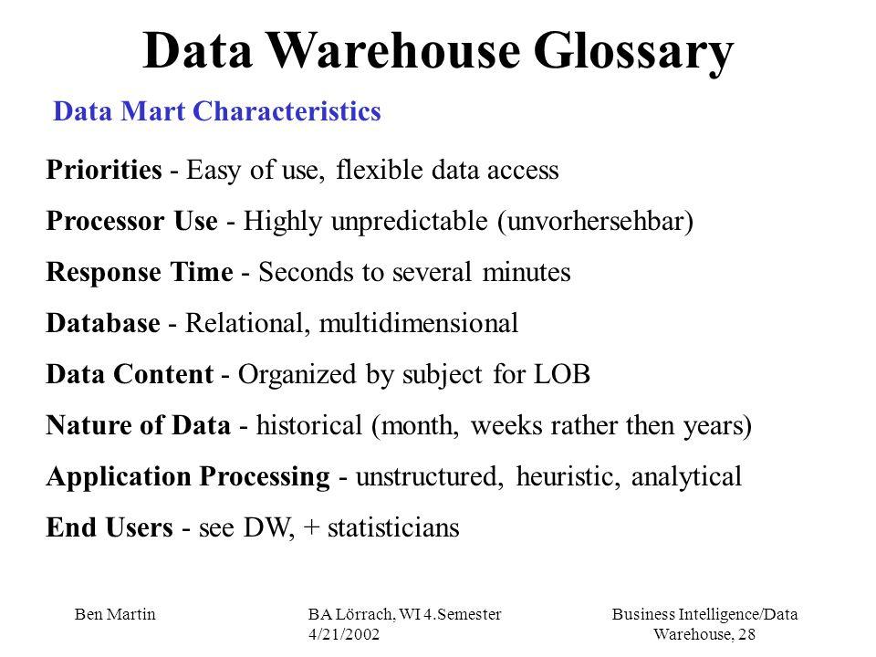 Business Intelligence/Data Warehouse, 28 Ben MartinBA Lörrach, WI 4.Semester 4/21/2002 Data Warehouse Glossary Data Mart Characteristics Priorities -