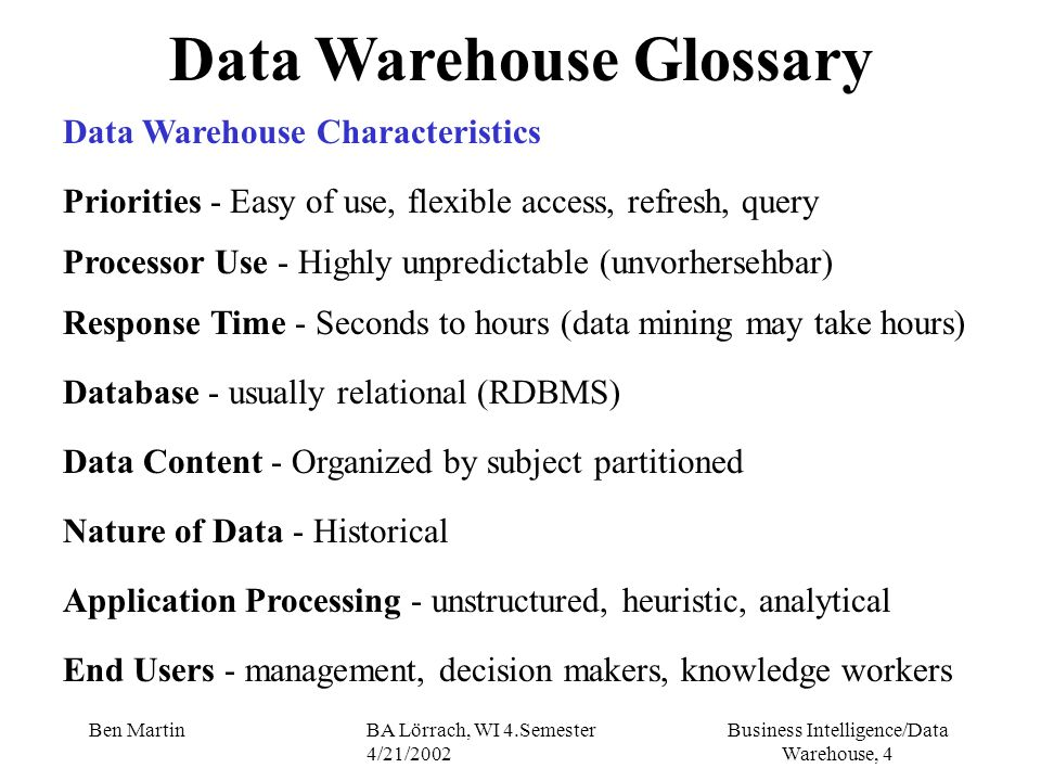 Business Intelligence/Data Warehouse, 65 Ben MartinBA Lörrach, WI 4.Semester 4/21/2002 Warehouse Data Schemas Star Schema II single, large central table surrounded by a number of other smaller tables radiating from it connected by database primary and foreign keys outlying tables - dimension tables that control the query as they contain the data is found in the query predicates most dominant warehouse schema DWH will contain many stars, not just one, each subject area will have its own fact table many fact tables may share dimensions (e.g.