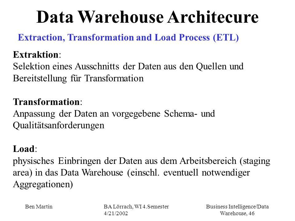 Business Intelligence/Data Warehouse, 46 Ben MartinBA Lörrach, WI 4.Semester 4/21/2002 Data Warehouse Architecure Extraktion: Selektion eines Ausschni