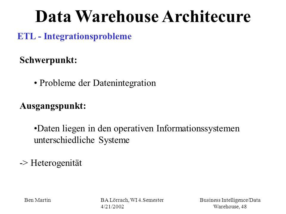 Business Intelligence/Data Warehouse, 48 Ben MartinBA Lörrach, WI 4.Semester 4/21/2002 Data Warehouse Architecure ETL - Integrationsprobleme Schwerpun