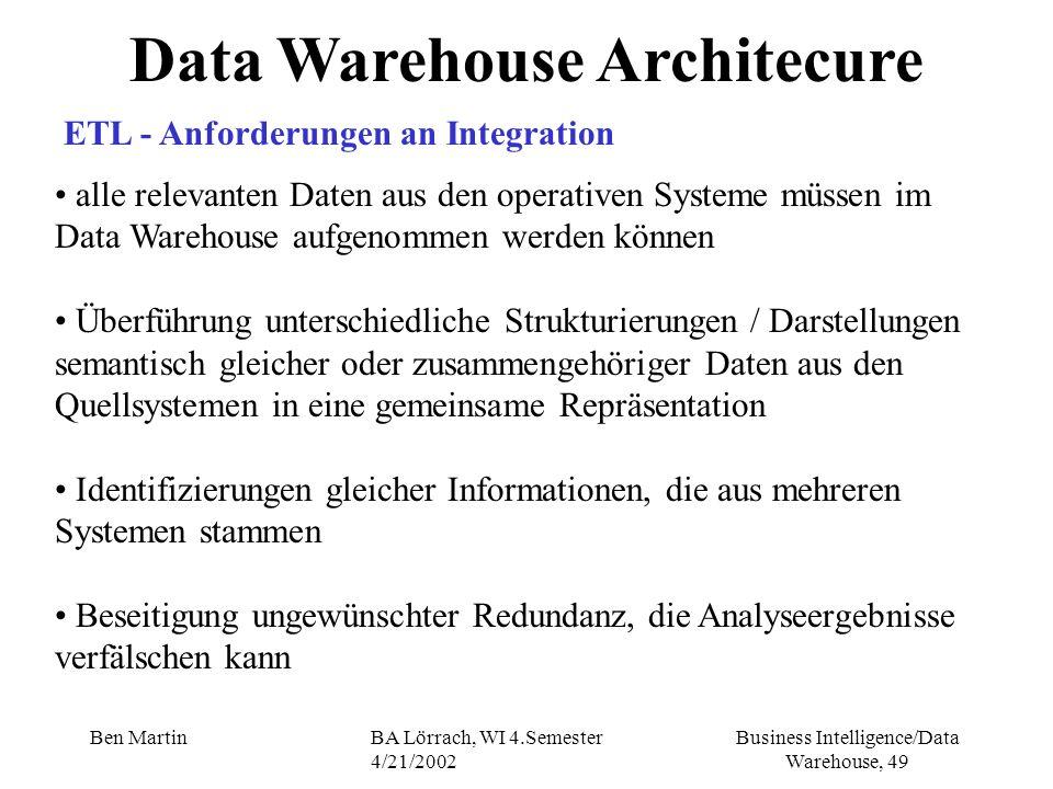 Business Intelligence/Data Warehouse, 49 Ben MartinBA Lörrach, WI 4.Semester 4/21/2002 Data Warehouse Architecure ETL - Anforderungen an Integration a
