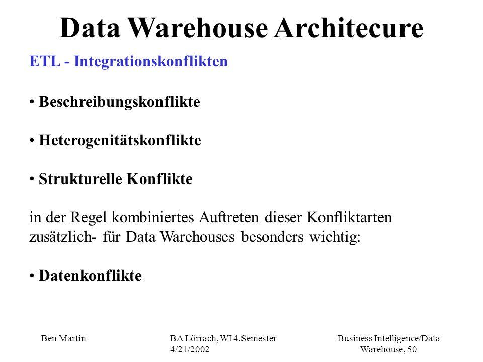 Business Intelligence/Data Warehouse, 50 Ben MartinBA Lörrach, WI 4.Semester 4/21/2002 Data Warehouse Architecure ETL - Integrationskonflikten Beschre
