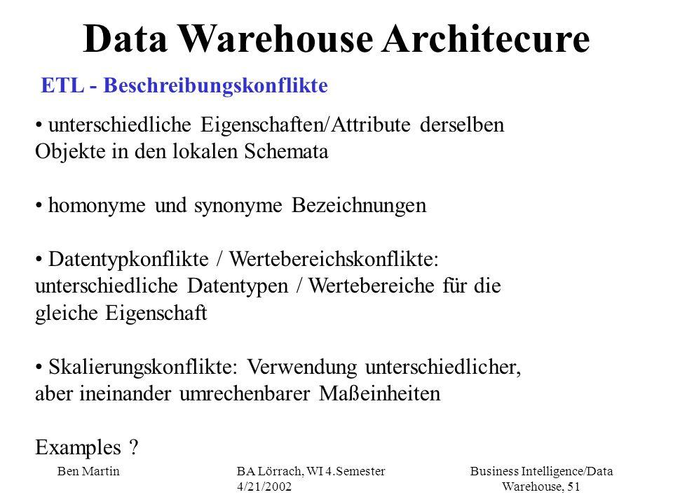 Business Intelligence/Data Warehouse, 51 Ben MartinBA Lörrach, WI 4.Semester 4/21/2002 Data Warehouse Architecure ETL - Beschreibungskonflikte untersc