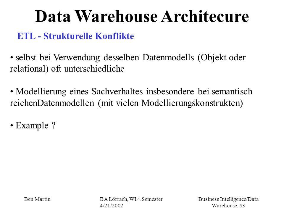 Business Intelligence/Data Warehouse, 53 Ben MartinBA Lörrach, WI 4.Semester 4/21/2002 Data Warehouse Architecure ETL - Strukturelle Konflikte selbst