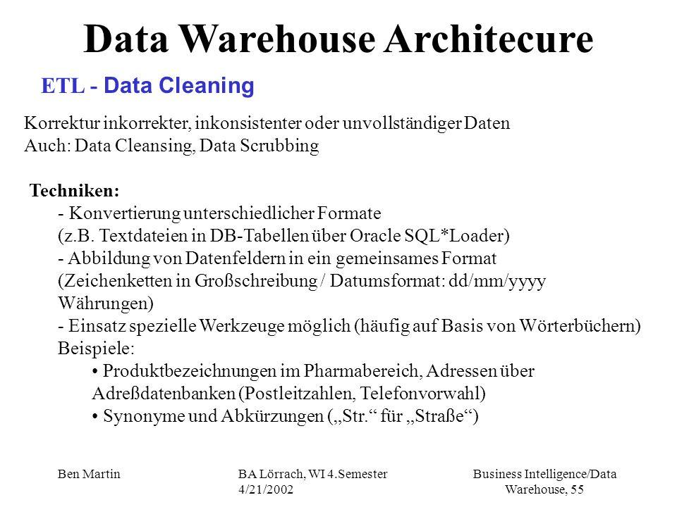 Business Intelligence/Data Warehouse, 55 Ben MartinBA Lörrach, WI 4.Semester 4/21/2002 Data Warehouse Architecure ETL - Data Cleaning Korrektur inkorr