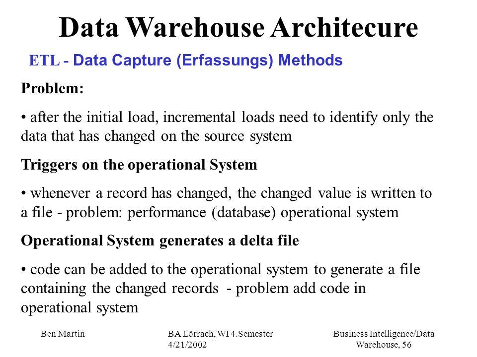 Business Intelligence/Data Warehouse, 56 Ben MartinBA Lörrach, WI 4.Semester 4/21/2002 Data Warehouse Architecure ETL - Data Capture (Erfassungs) Meth