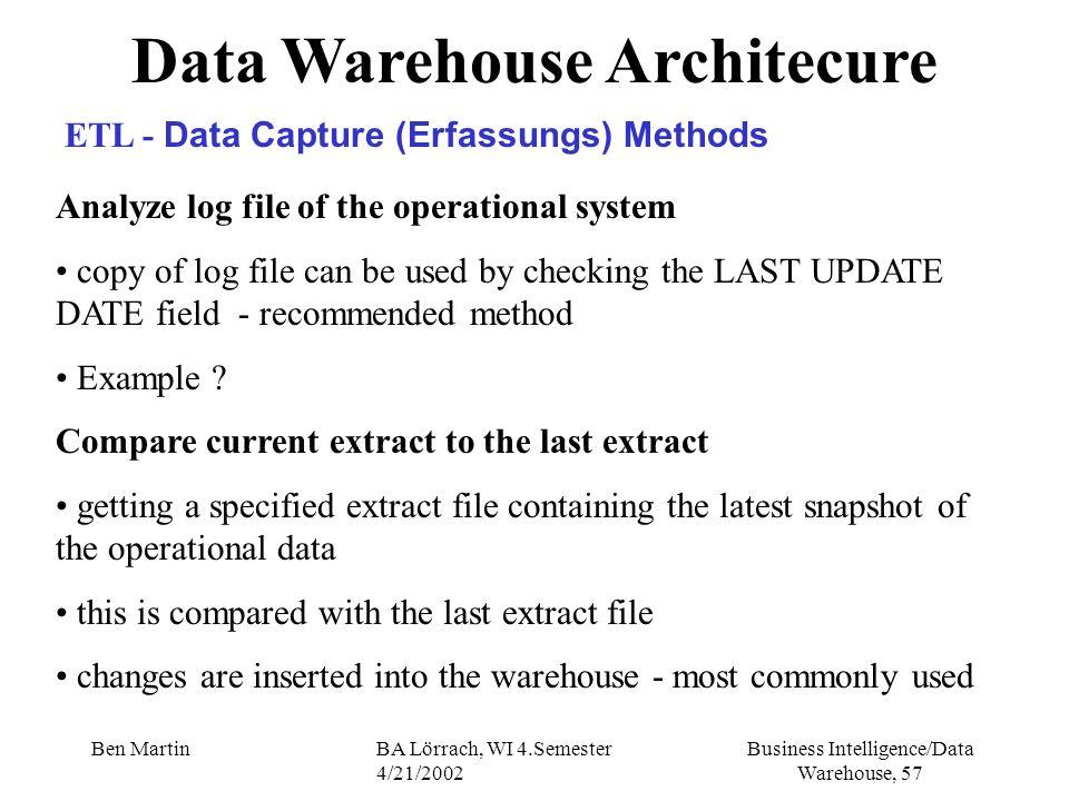 Business Intelligence/Data Warehouse, 57 Ben MartinBA Lörrach, WI 4.Semester 4/21/2002 Analyze log file of the operational system copy of log file can