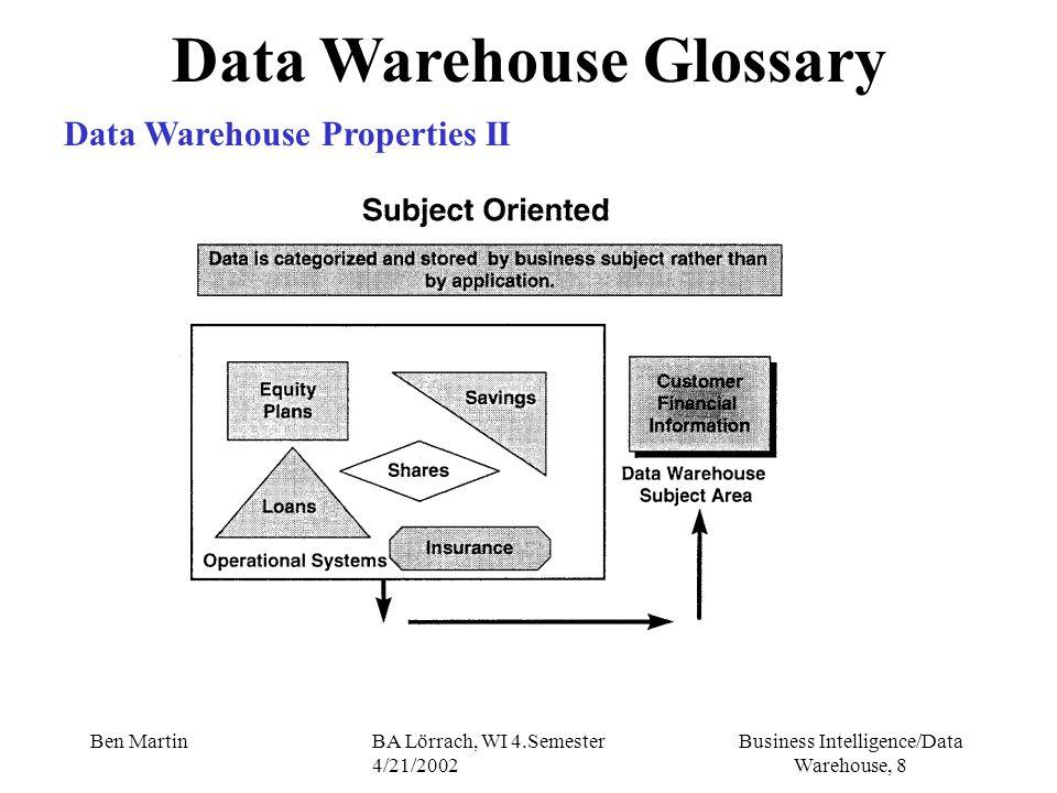 Business Intelligence/Data Warehouse, 8 Ben MartinBA Lörrach, WI 4.Semester 4/21/2002 Data Warehouse Glossary Data Warehouse Properties II