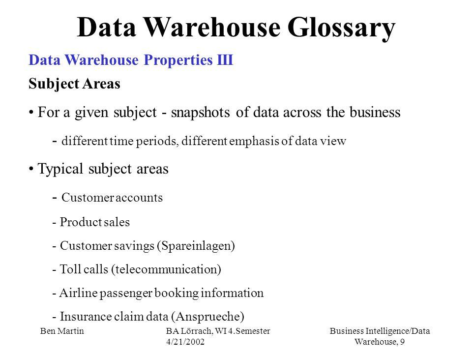 Business Intelligence/Data Warehouse, 40 Ben MartinBA Lörrach, WI 4.Semester 4/21/2002 Ziel 2 (cont.): Gewährleistung eines optimalen Informationsgewinns für alle Anwendergruppen Datenanalyse Metadaten über Bedeutung von Daten, Kennzahlensysteme, Data Warehouse Glossary Meta Data Repository IV