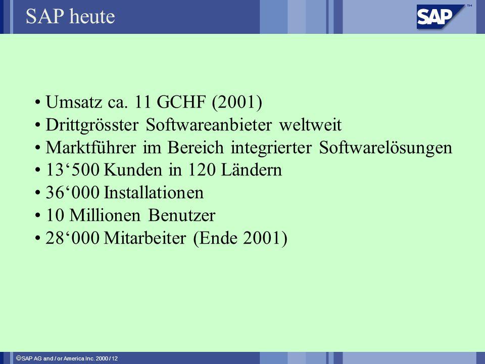 SAP AG and / or America Inc. 2000 / 12 SAP heute Umsatz ca. 11 GCHF (2001) Drittgrösster Softwareanbieter weltweit Marktführer im Bereich integrierter