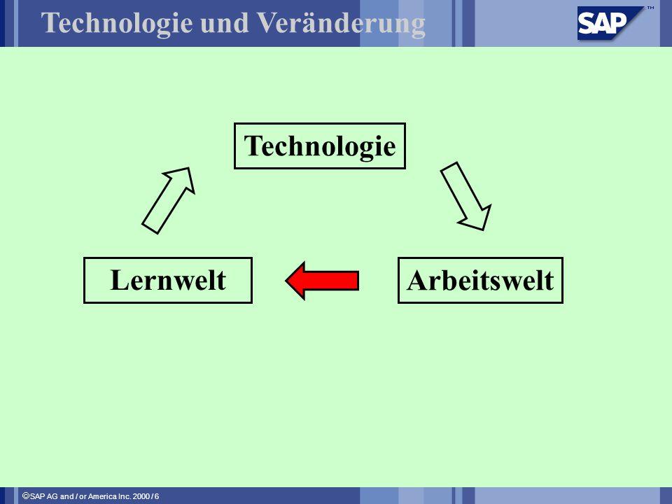 SAP AG and / or America Inc. 2000 / 6 Technologie und Veränderung Technologie Arbeitswelt Lernwelt