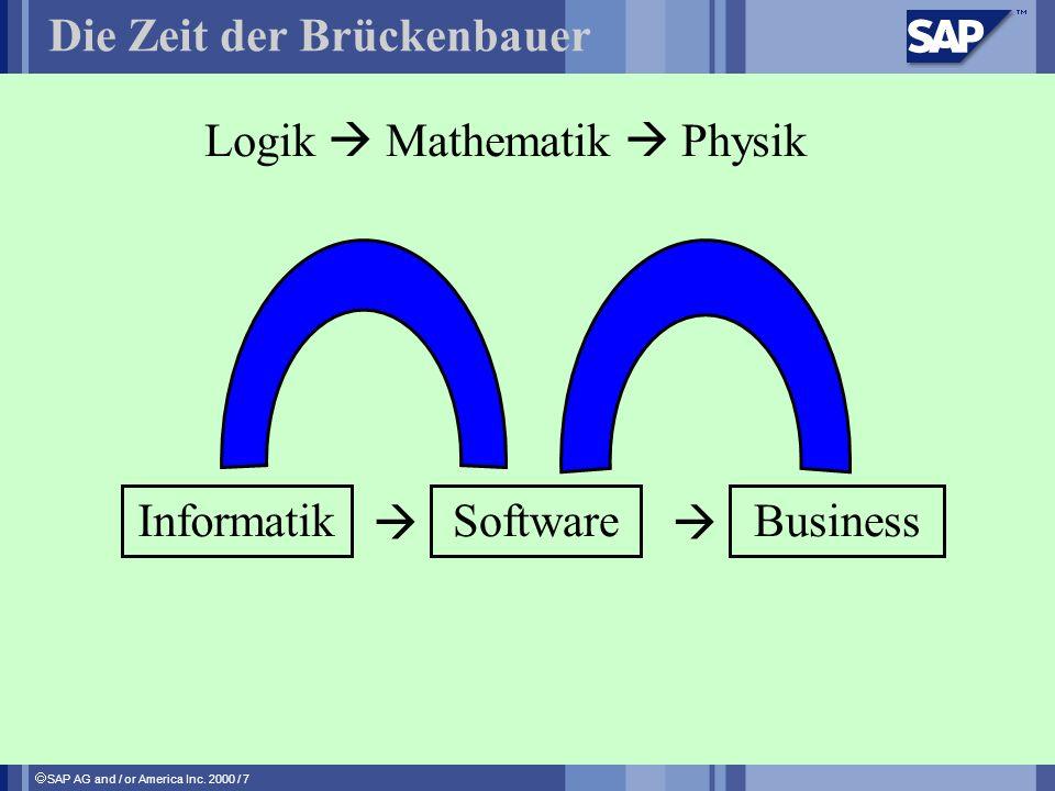 SAP AG and / or America Inc. 2000 / 7 Die Zeit der Brückenbauer Logik Mathematik Physik InformatikSoftwareBusiness