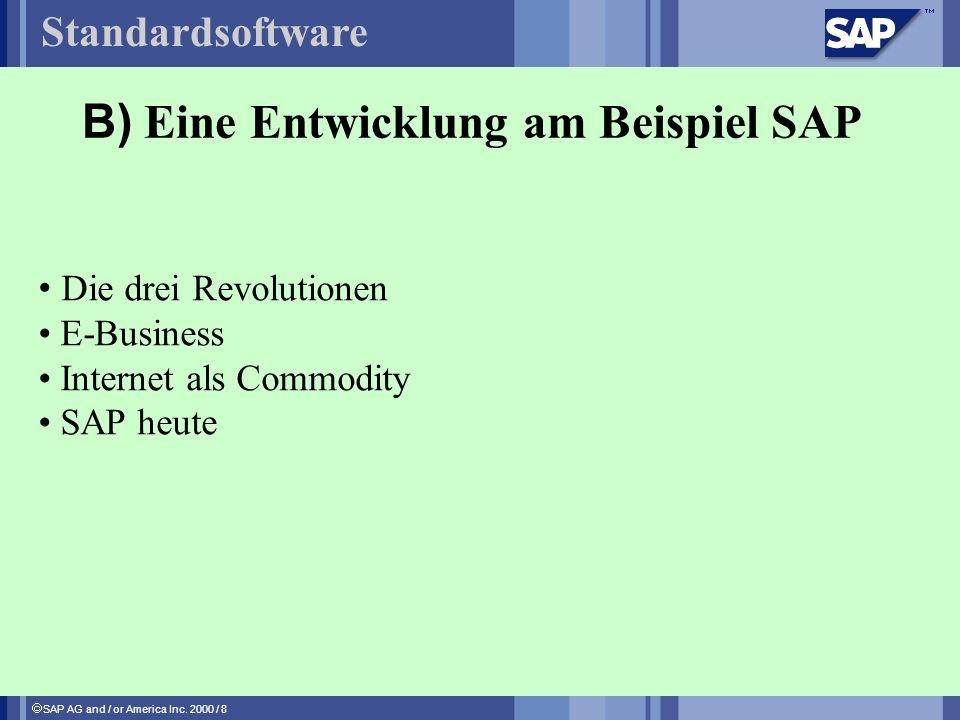 SAP AG and / or America Inc. 2000 / 8 B) Eine Entwicklung am Beispiel SAP Standardsoftware Die drei Revolutionen E-Business Internet als Commodity SAP