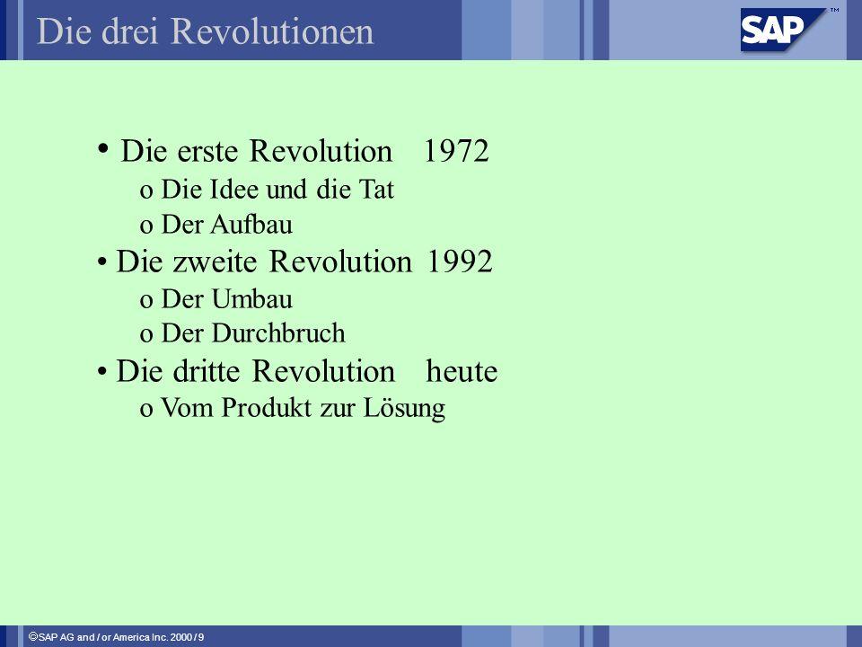 SAP AG and / or America Inc. 2000 / 9 Die drei Revolutionen Die erste Revolution 1972 o Die Idee und die Tat o Der Aufbau Die zweite Revolution 1992 o