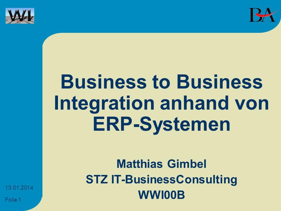Folie 1 13.01.2014 Business to Business Integration anhand von ERP-Systemen Matthias Gimbel STZ IT-BusinessConsulting WWI00B