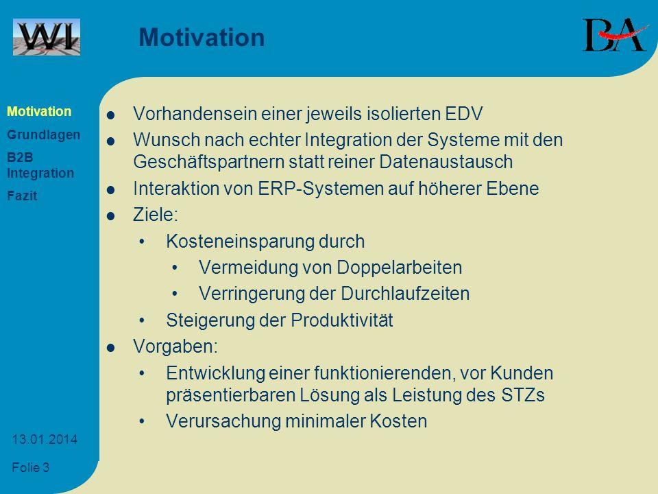 Folie 3 13.01.2014 Motivation Vorhandensein einer jeweils isolierten EDV Wunsch nach echter Integration der Systeme mit den Geschäftspartnern statt re