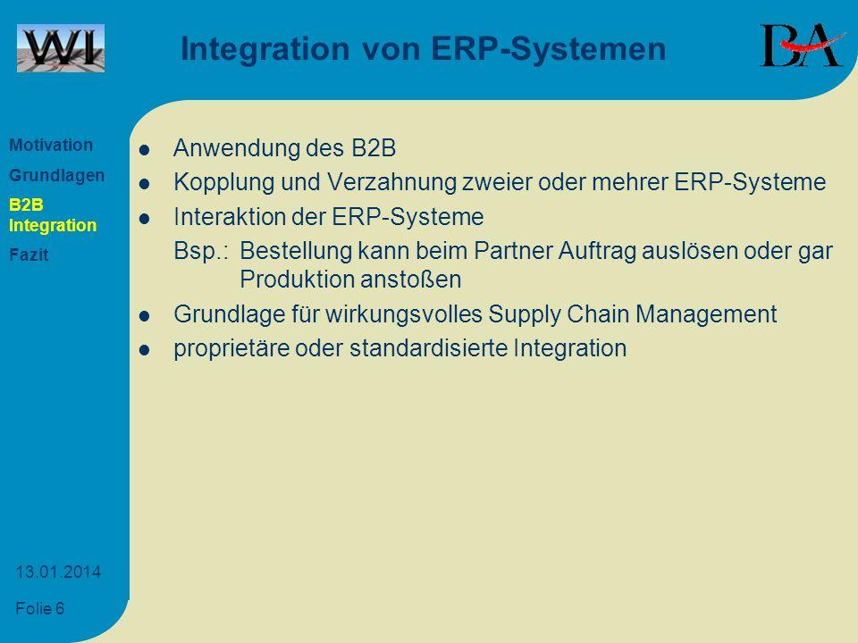 Folie 6 13.01.2014 Integration von ERP-Systemen Anwendung des B2B Kopplung und Verzahnung zweier oder mehrer ERP-Systeme Interaktion der ERP-Systeme B
