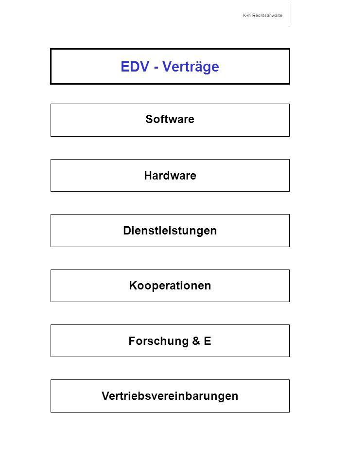 EDV - Verträge Software Hardware Dienstleistungen Kooperationen K+h Rechtsanwälte Forschung & E Vertriebsvereinbarungen