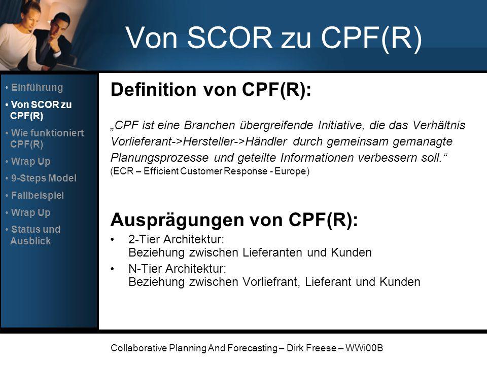 Collaborative Planning And Forecasting – Dirk Freese – WWi00B Von SCOR zu CPF(R) Definition von CPF(R): CPF ist eine Branchen übergreifende Initiative