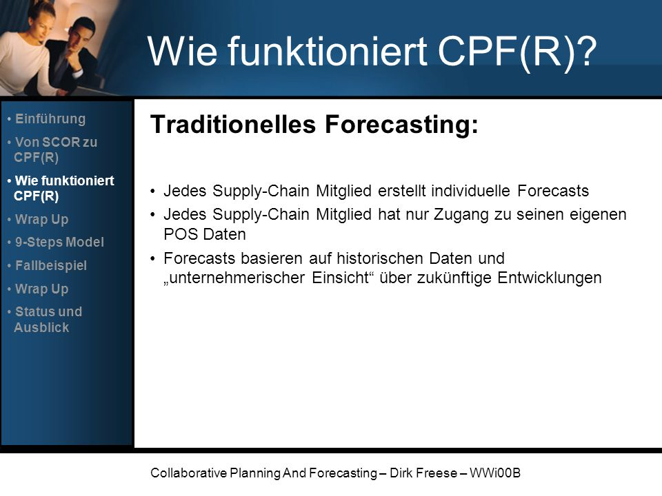 Collaborative Planning And Forecasting – Dirk Freese – WWi00B Wie funktioniert CPF(R)? Traditionelles Forecasting: Jedes Supply-Chain Mitglied erstell
