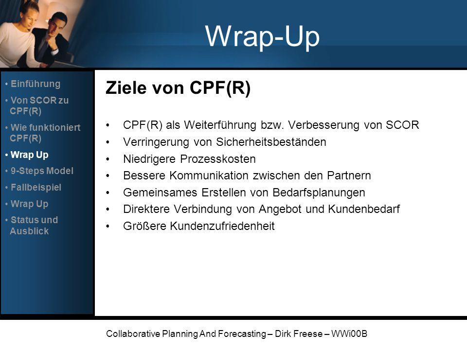 Collaborative Planning And Forecasting – Dirk Freese – WWi00B Wrap-Up Ziele von CPF(R) CPF(R) als Weiterführung bzw. Verbesserung von SCOR Verringerun